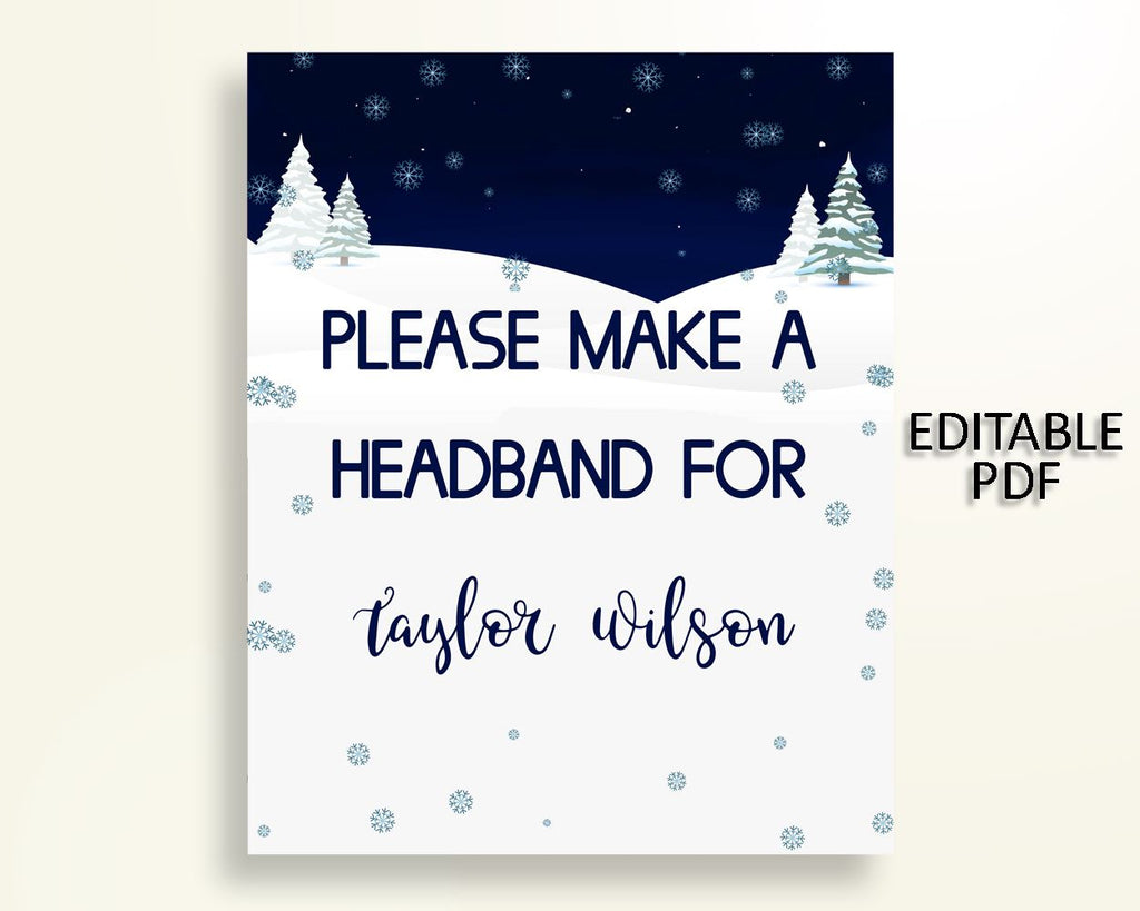 Headband Sign Baby Shower Headband Sign Winter Baby Shower Headband Sign Baby Shower Winter Headband Sign Blue White printables party 3E6QO - Digital Product