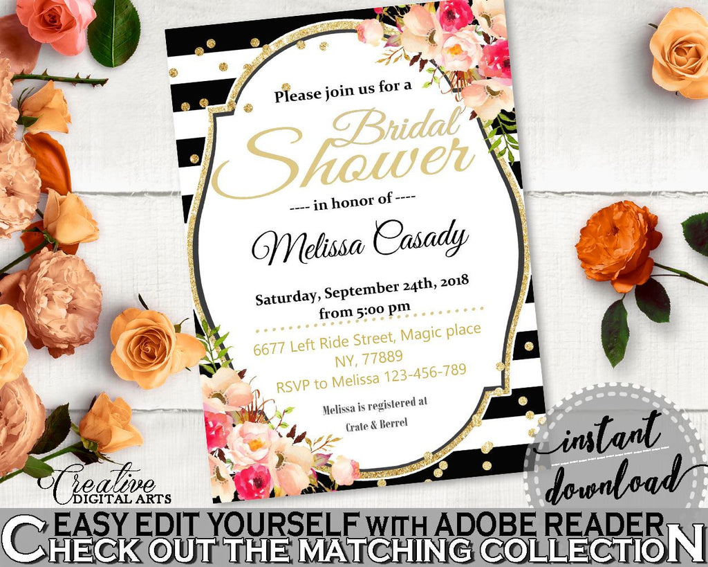 Black And Gold Flower Bouquet Black Stripes Bridal Shower Theme: Editable Bridal Shower Invitation - edit yourself invite, prints - QMK20 - Digital Product