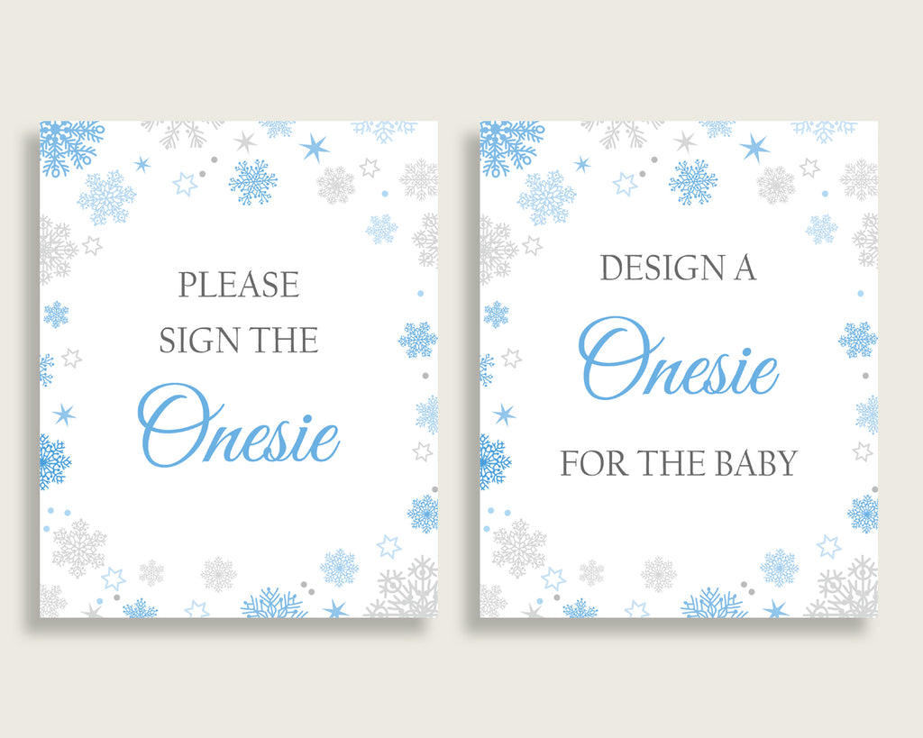 Sign The Onesie Baby Shower Design A Onesie Snowflake Baby Shower Sign The Onesie Blue Gray Baby Shower Snowflake Design A Onesie NL77H