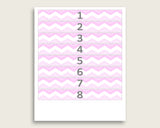 Pink White Chevron Guess The Baby Food Game Printable, Girl Baby Shower Food Guessing Game Activity, Instant Download, Stripy Lines cp001