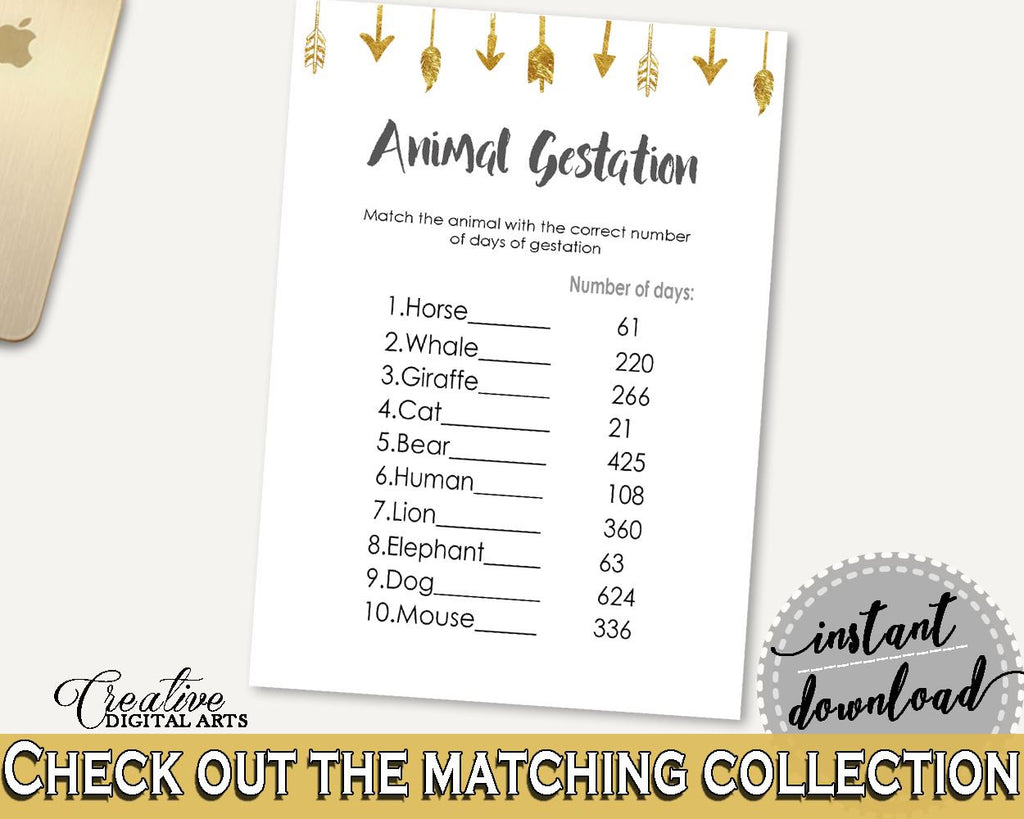 Animal Gestation Baby Shower Animal Gestation Gold Arrows Baby Shower Animal Gestation Baby Shower Gold Arrows Animal Gestation Gold I60OO - Digital Product