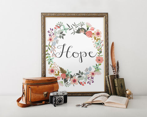 Wall Decor Hope Printable Hope Prints Hope Sign Hope Inspirational Art Hope Inspirational Print Hope Printable Art Hope Religious Wall Decor - Digital Download