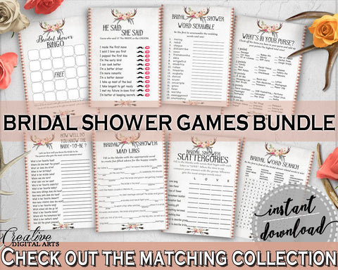 Games Bundle in Antlers Flowers Bohemian Bridal Shower Gray and Pink Theme, games package, antlers bouquet, printable files, prints - MVR4R - Digital Product