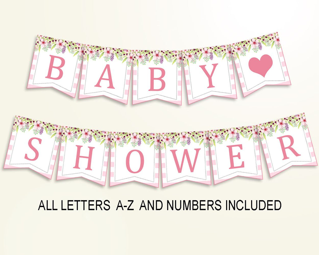 Banner Baby Shower Banner Pink Baby Shower Banner Baby Shower Flowers Banner Pink Green customizable files party theme pdf jpg digital 5RQAG - Digital Product