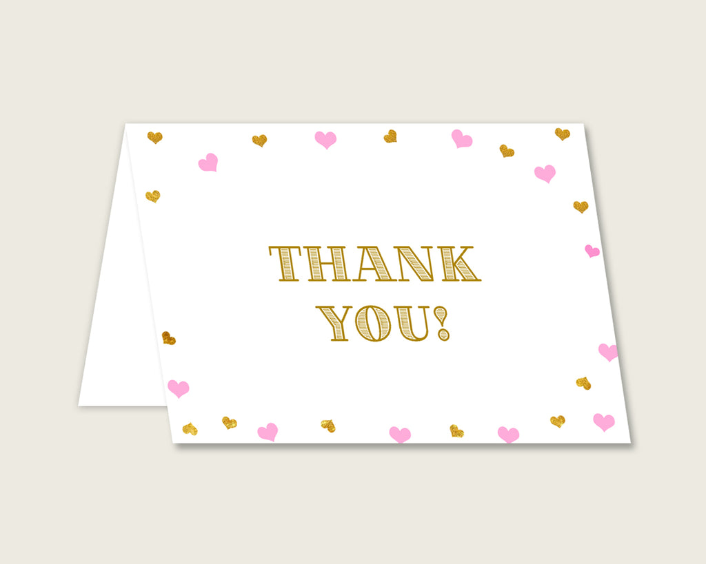 Thank You Card Baby Shower Thank You Card Hearts Baby Shower Thank You Card Baby Shower Hearts Thank You Card Pink Gold pdf jpg party bsh01