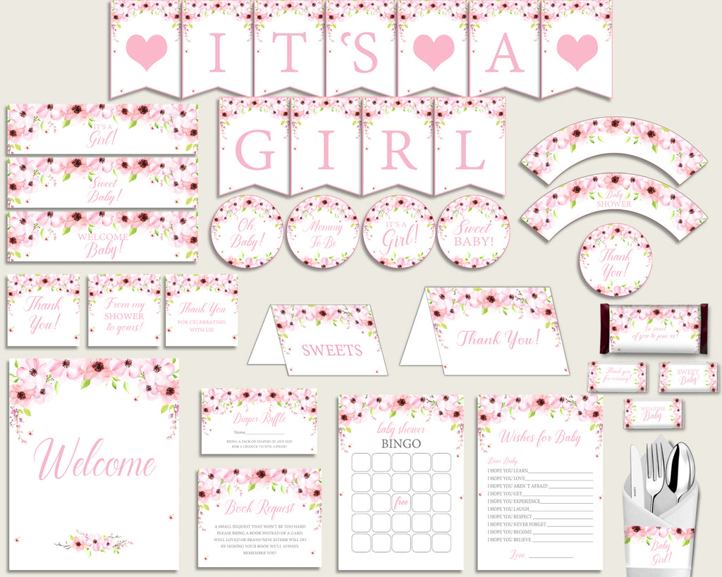Pink Green Baby Shower Decorations Girl Kit, Flower Blush Baby Shower Party Package Printable, Instant Download, Flowers Theme VH1KL