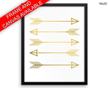 Golden Arrows Print, Beautiful Wall Art with Frame and Canvas options available Living Room Decor