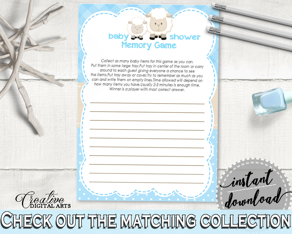 Baby Shower Boy MEMORY little lamb game blue printable, blue baby shower boy sheep theme, digital file, Jpg Pdf, instant download - fa001