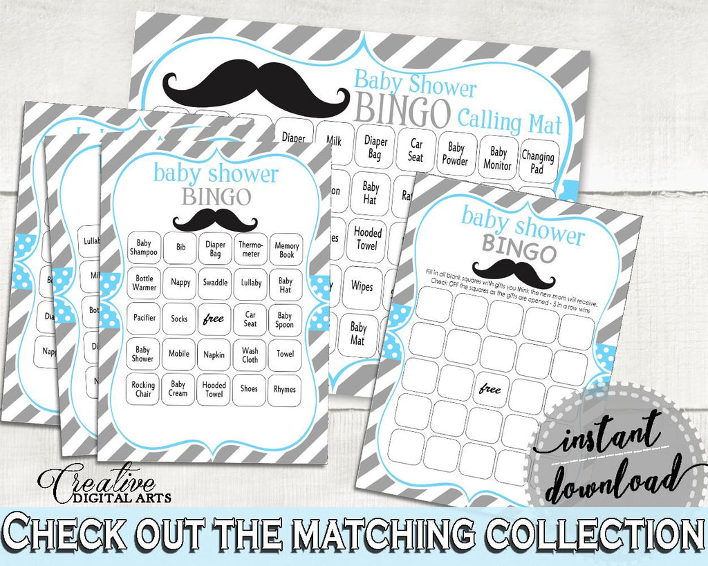 Bingo 60 Cards, Baby Shower Bingo 60 Cards, Mustache Baby Shower Bingo 60 Cards, Baby Shower Mustache Bingo 60 Cards Blue Gray paper 9P2QW - Digital Product