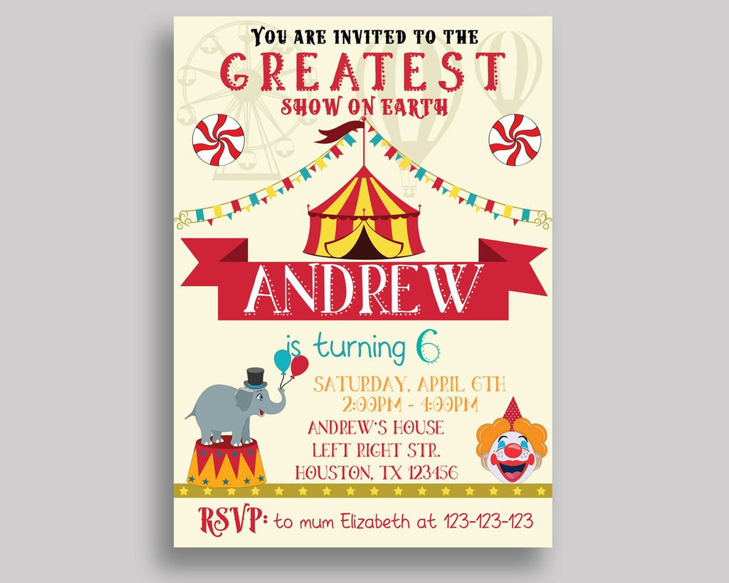 Circus Birthday Invitation Circus Birthday Party Invitation Circus ...