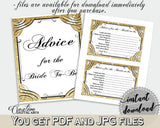 Advice For The Bride To Be in Glittering Gold Bridal Shower Gold And Yellow Theme, instructions for bride, bridal shower idea - JTD7P - Digital Product