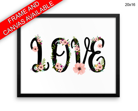 Love Grows Print, Beautiful Wall Art with Frame and Canvas options available Home Decor