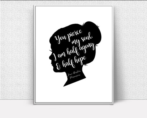 Wall Decor Jane Austen Printable Jane Austen Prints Jane Austen Sign Jane Austen Quote Art Jane Austen Quote Print Jane Austen Printable Art - Digital Download