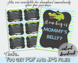 HOW BIG IS MOMMY'S BELLY baby shower game with green alligator and blue color theme, instant download - ap002