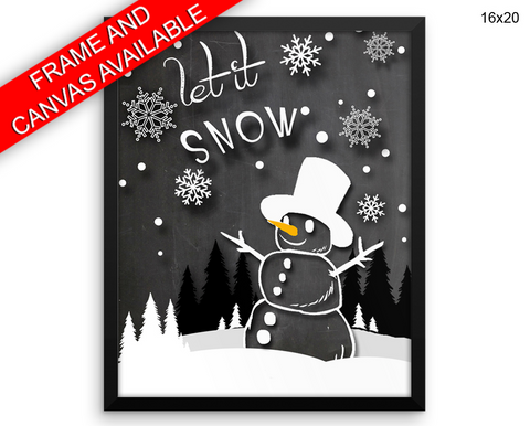 Snowman Print, Beautiful Wall Art with Frame and Canvas options available Winter Decor