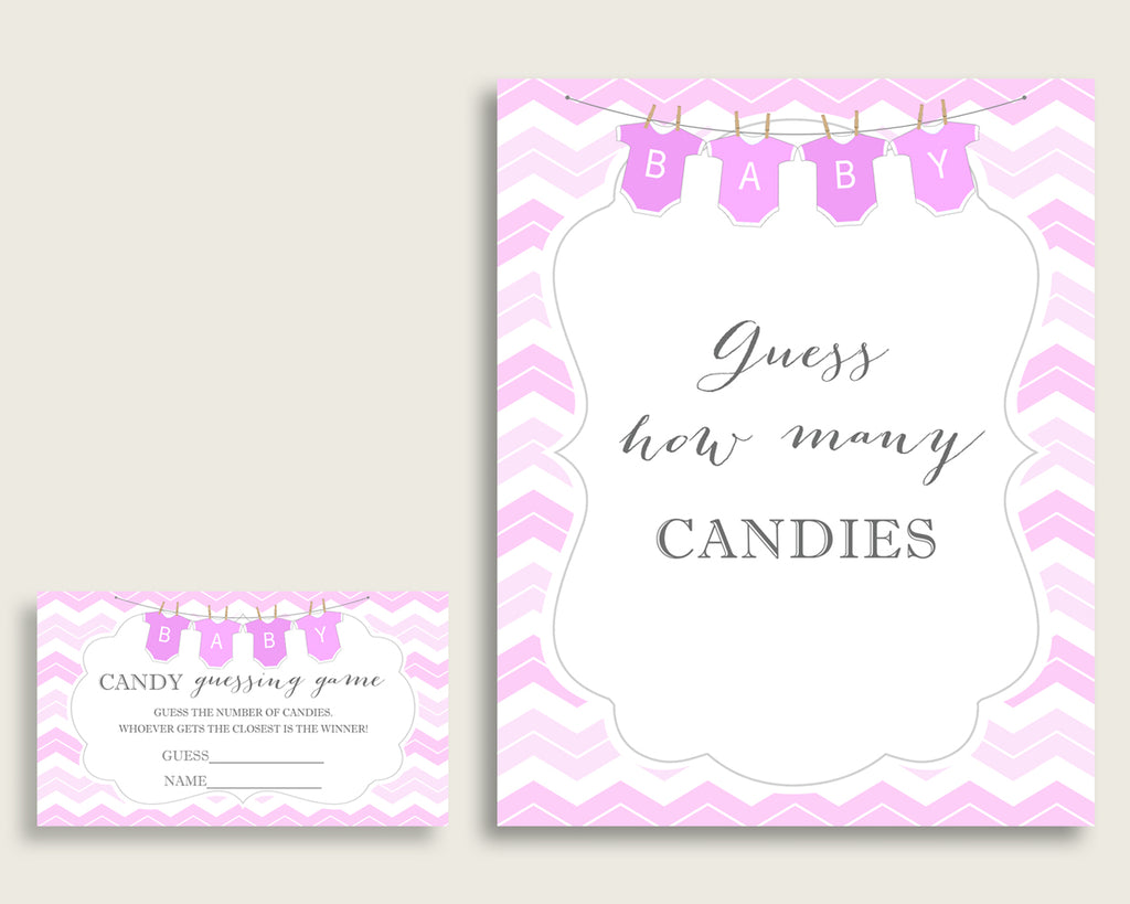 Pink White Candy Guessing Game, Chevron Baby Shower Girl Sign And Cards, Guess How Many Candies, Candy Jar Game, Jelly Beans, Instant cp001
