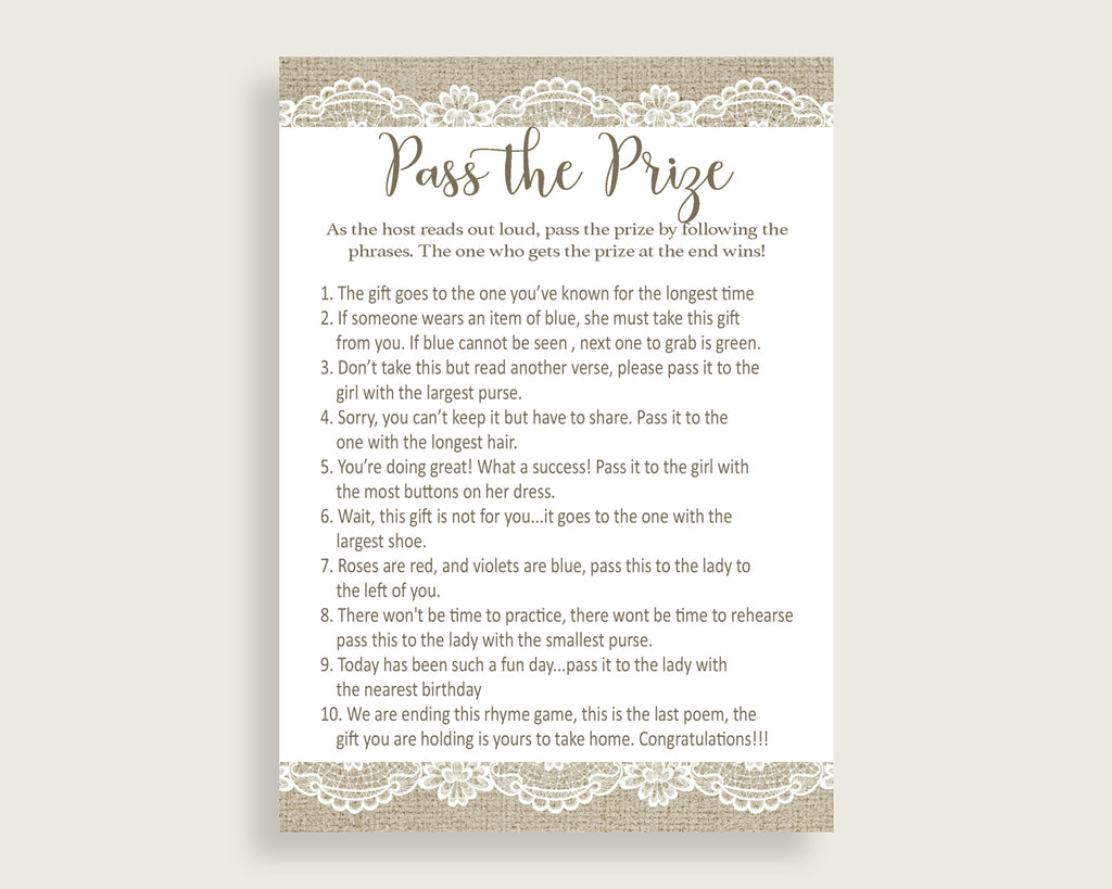 Pass The Prize Bridal Shower Pass The Prize Burlap And Lace Bridal Shower Pass The Prize Bridal Shower Burlap And Lace Pass The Prize NR0BX