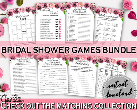 Games Bridal Shower Games Floral Bridal Shower Games Bridal Shower Floral Games Pink Purple paper supplies, shower activity, prints - BQ24C - Digital Product