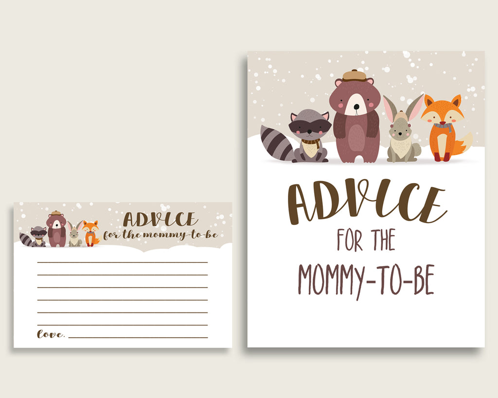 Winter Woodland Advice For Mommy To Be Cards & Sign, Printable Baby Shower Beige Brown Advice For New Parents, Instant Download, RM4SN