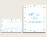 Stars Advice For Mommy To Be Cards & Sign, Printable Baby Shower Blue Gold Advice For New Parents, Instant Download, Twinkle Twinkle bsr01