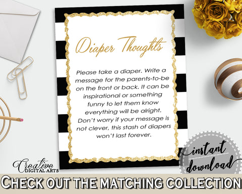 Baby shower DIAPER THOUGHTS game with black white stripes color theme printable, glitter gold, digital file jpg pdf, instant download - bs001