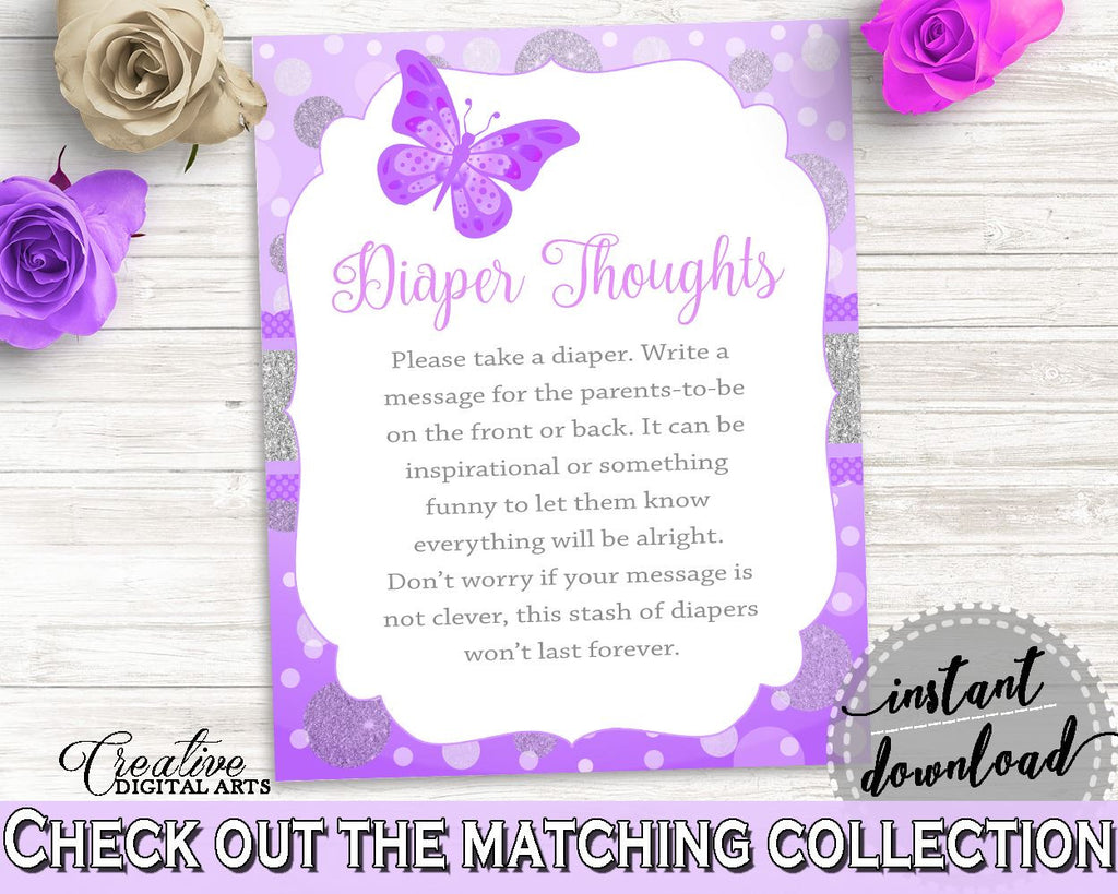 Diaper Thoughts Baby Shower Diaper Thoughts Butterfly Baby Shower Diaper Thoughts Baby Shower Butterfly Diaper Thoughts Purple Pink 7AANK - Digital Product