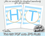 Baby shower BANNER printable decoration with blue and white stripes, glitter all letters, digital files, instant download - bs002