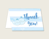 Blue White Thank You Cards Printable, Whale Baby Shower Thank You Notes, Boy Shower Thank You Folded, Instant Download, Light Blue wbl01