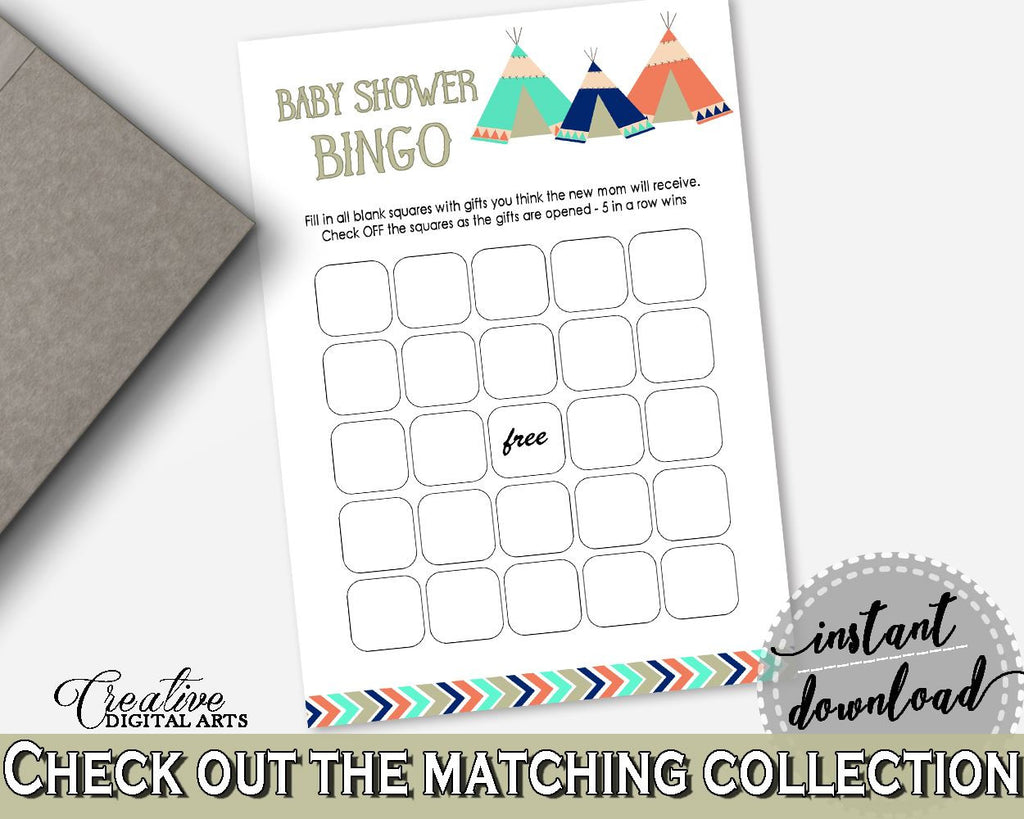 Bingo Gift Game Baby Shower Bingo Gift Game Tribal Teepee Baby Shower Bingo Gift Game Baby Shower Tribal Teepee Bingo Gift Game Green KS6AW - Digital Product