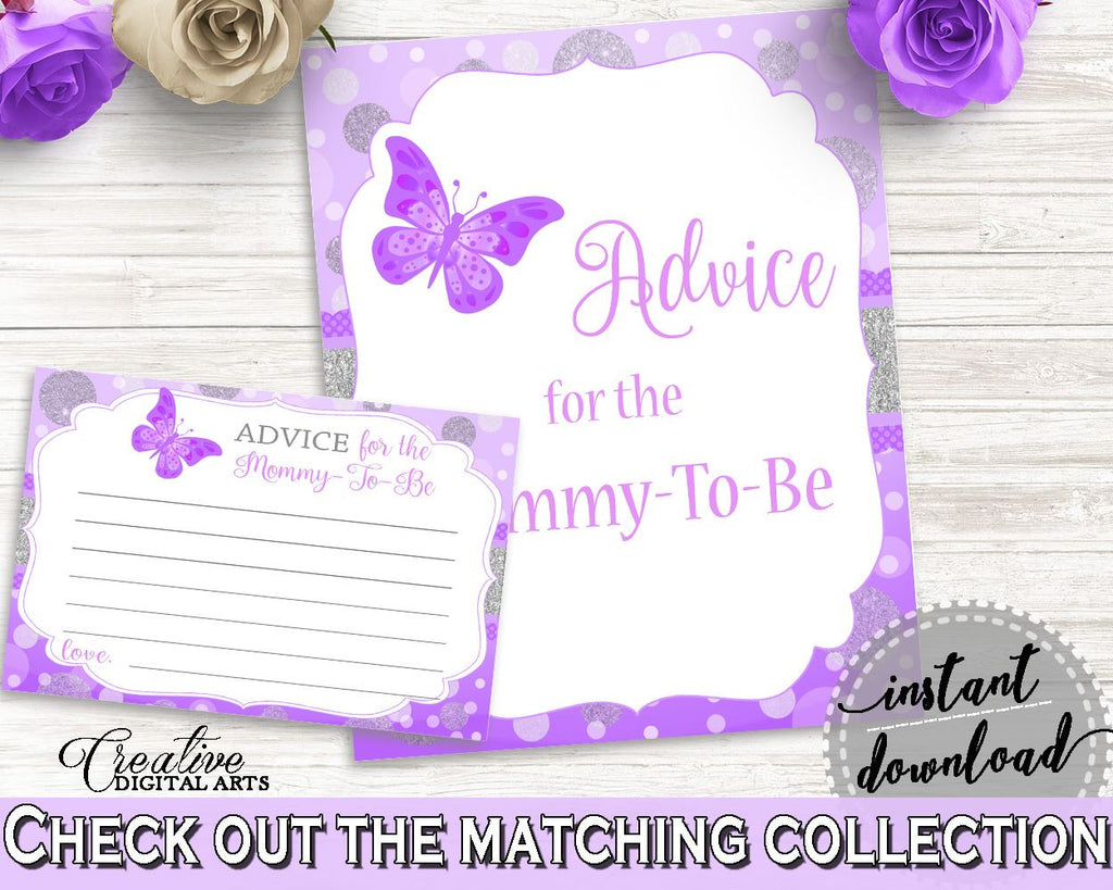 Advice Cards Baby Shower Advice Cards Butterfly Baby Shower Advice Cards Baby Shower Butterfly Advice Cards Purple Pink party ideas 7AANK - Digital Product
