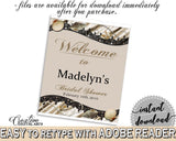 Bridal Shower Welcome Sign Editable in Seashells And Pearls Bridal Shower Brown And Beige Theme, entrance sign, party ideas - 65924 - Digital Product