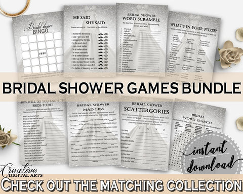 Games Bundle in Silver Wedding Dress Bridal Shower Silver And White Theme, whats in purse, bridal preparation, party decor, prints - C0CS5 - Digital Product