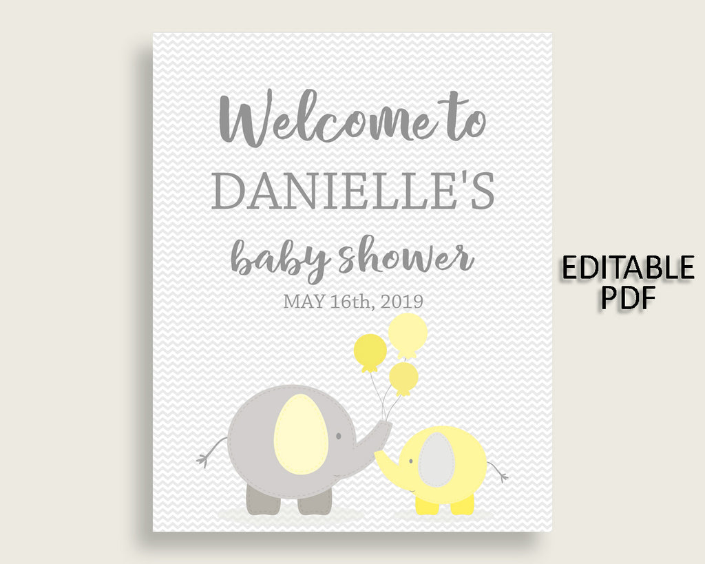 Welcome Sign Baby Shower Welcome Sign Yellow Baby Shower Welcome Sign Baby Shower Elephant Welcome Sign Yellow Gray party decor party W6ZPZ