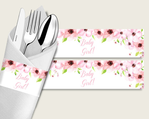 Flower Blush Baby Shower Napkin Rings Printable, Pink Green Napkin Wrappers, Girl Shower Utensils Wrap, Instant Download, Most Popular VH1KL
