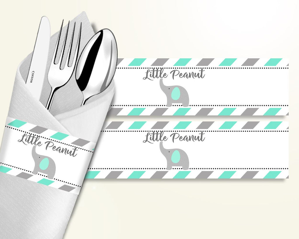 Napkin Rings Baby Shower Napkin Rings Turquoise Baby Shower Napkin Rings Baby Shower Elephant Napkin Rings Green Gray party décor 5DMNH - Digital Product