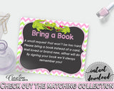 Baby shower BRING A BOOK insert cards printable for baby shower with green alligator and pink color theme, instant download - ap001
