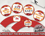 Cupcake Toppers And Wrappers Baby Shower Cupcake Toppers And Wrappers Fireman Baby Shower Cupcake Toppers And Wrappers Red Yellow Baby LUWX6 - Digital Product