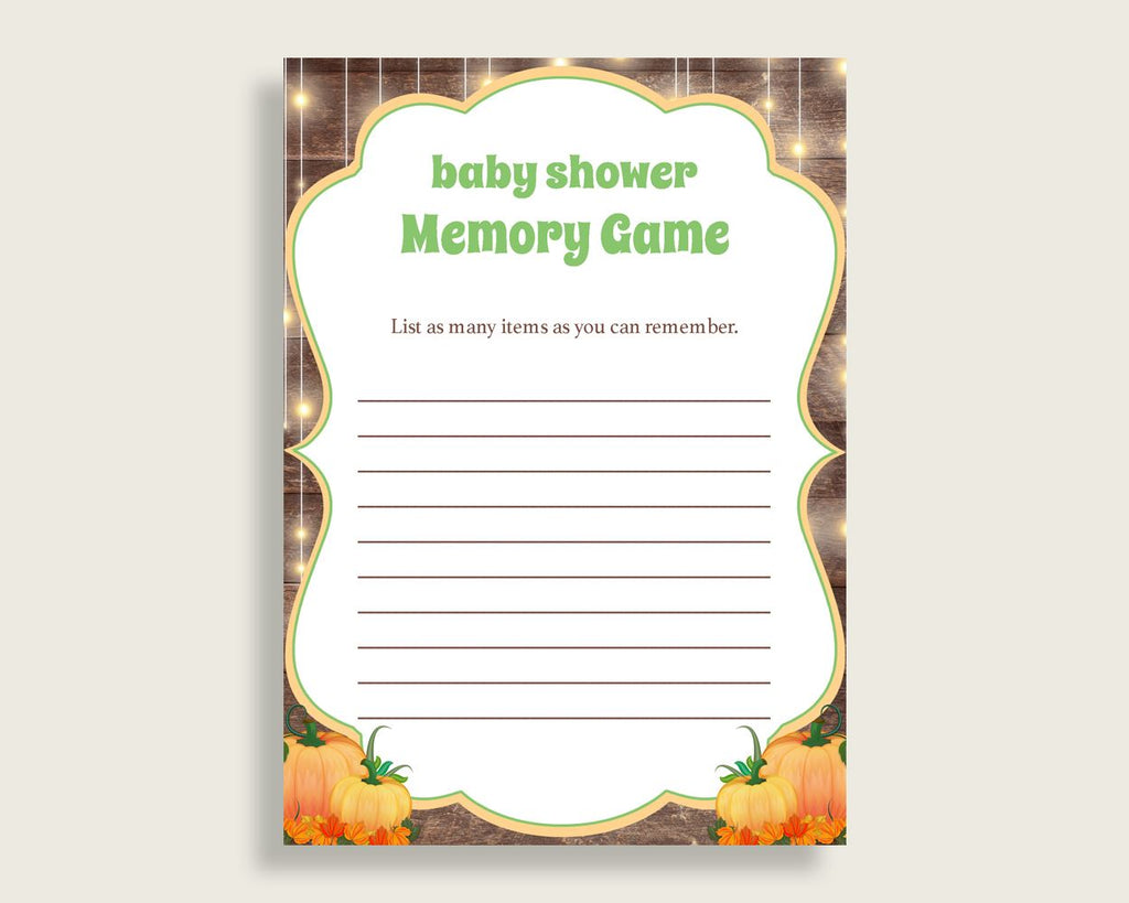 Memory Game Baby Shower Memory Game Autumn Baby Shower Memory Game Baby Shower Autumn Memory Game Brown Orange party ideas pdf jpg 0QDR3 - Digital Product