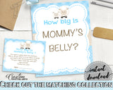Little Lamb Baby Shower How Big Is MOMMY'S BELLY game blue printable, sheep baby boy theme, digital files Jpg Pdf, instant download - fa001