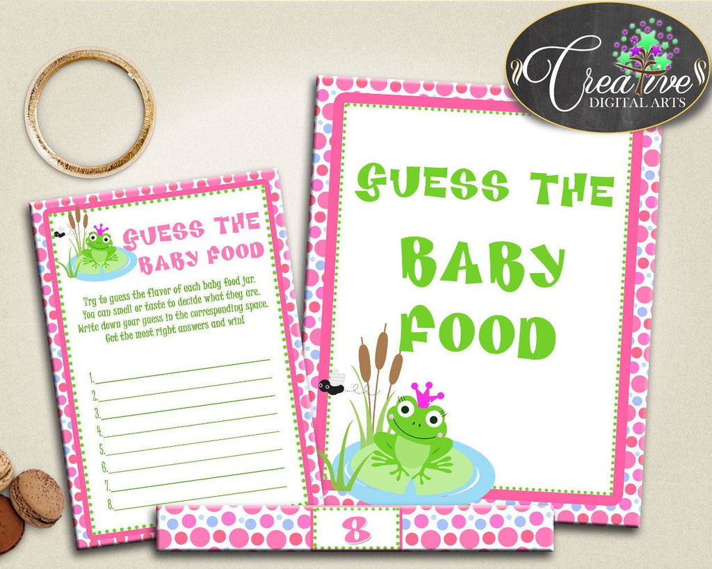 Baby Shower Animals Green And Pink Food Guessing Game Shower Food Game GUESS THE BABY Food, Party Plan, Party Décor - bsf01 - Digital Product