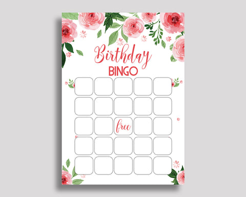 Birthday Game Watercolor Flowers Gift Bingo Watercolor Flowers Birthday Bingo Pink Green Party Activity Girl SLEPQ