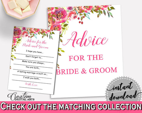 Advice Bridal Shower Advice Spring Flowers Bridal Shower Advice Bridal Shower Spring Flowers Advice Pink Green digital download UY5IG - Digital Product
