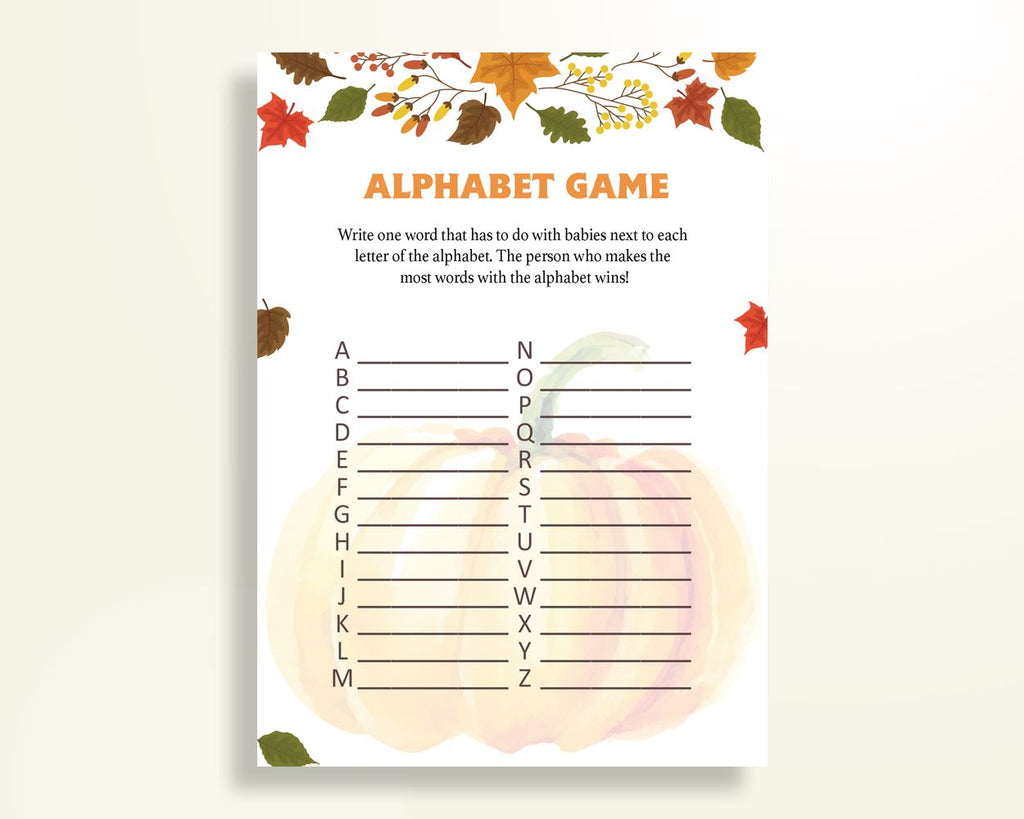 Alphabet Game Baby Shower Abc Game Autumn Baby Shower Alphabet Game Baby Shower Pumpkin Abc Game Orange Brown shower activity OALDE - Digital Product