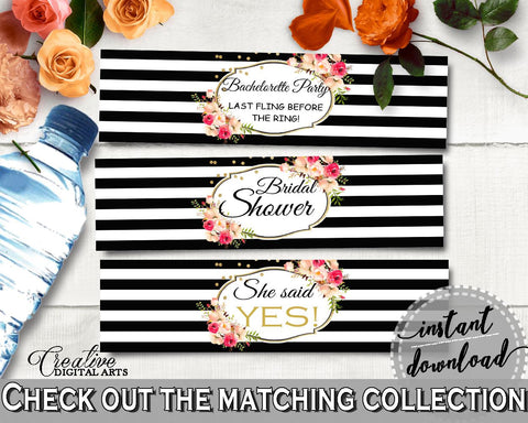 Bottle Labels in Flower Bouquet Black Stripes Bridal Shower Black And Gold Theme, bachelorette party, party stuff, party decor - QMK20 - Digital Product