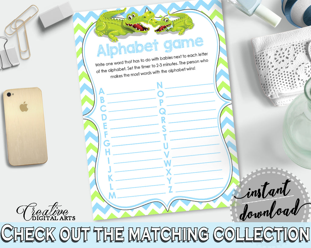 Baby Shower ABC's game with green alligator and blue color theme, instant download - ap002
