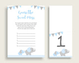 Elephant Guessing Game Baby Shower Boy, Blue Grey Guess The Sweet Mess Game Printable, Dirty Diaper Game, Instant Download, ebl02
