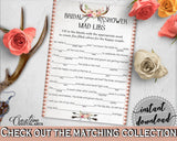 Antlers Flowers Bohemian Bridal Shower Mad Libs Game in Gray and Pink, bridal mad libs, boho floral, party planning, party plan - MVR4R - Digital Product