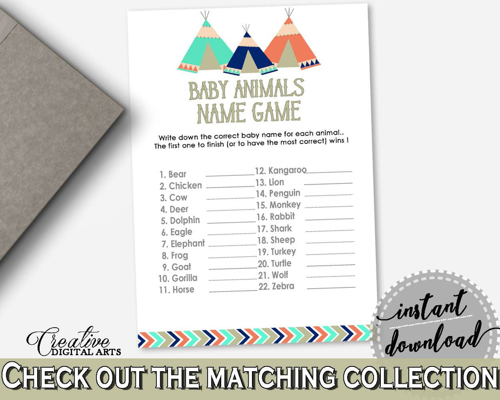 Baby Animal Names Baby Shower Baby Animal Names Tribal Teepee Baby Shower Baby Animal Names Baby Shower Tribal Teepee Baby Animal KS6AW - Digital Product