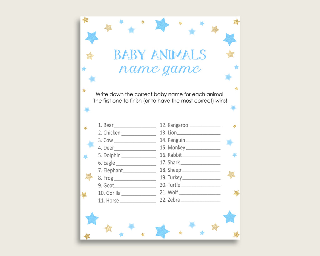 Stars Name The Baby Animals Game Printable, Blue Gold Baby Shower Animal Game, Boy Baby Shower, Instant Download, Moon Glitter Stars, bsr01