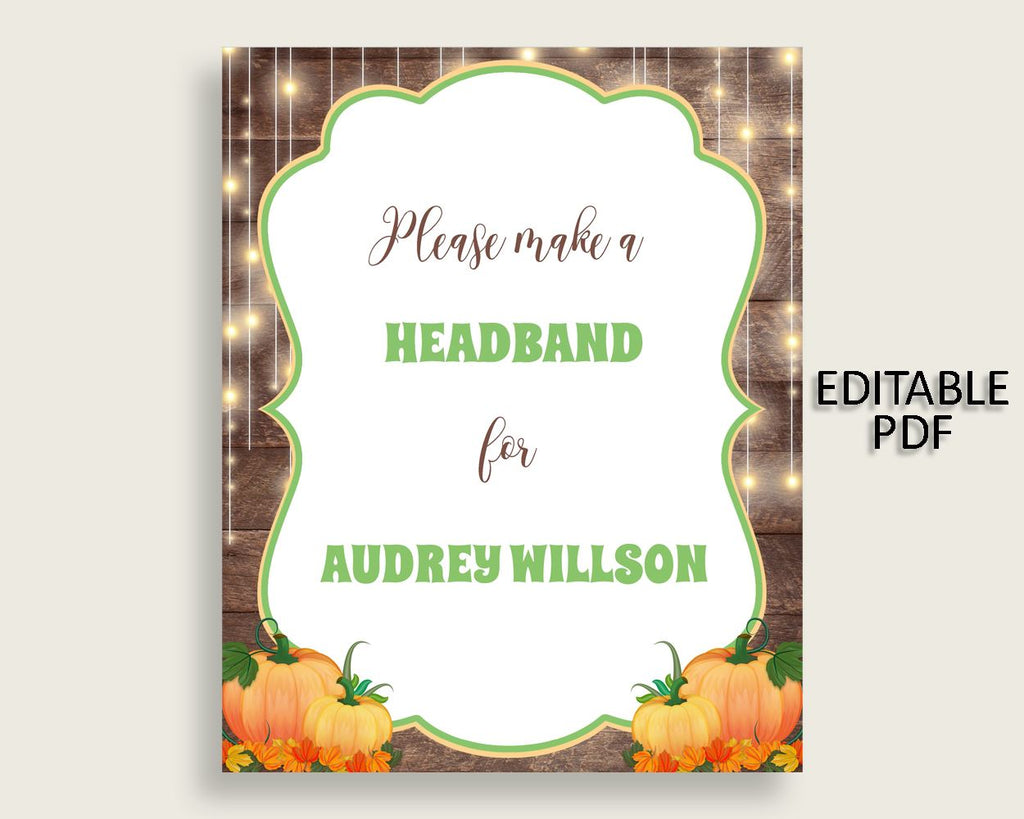 Headband Sign Baby Shower Headband Sign Autumn Baby Shower Headband Sign Baby Shower Autumn Headband Sign Brown Orange printables 0QDR3 - Digital Product